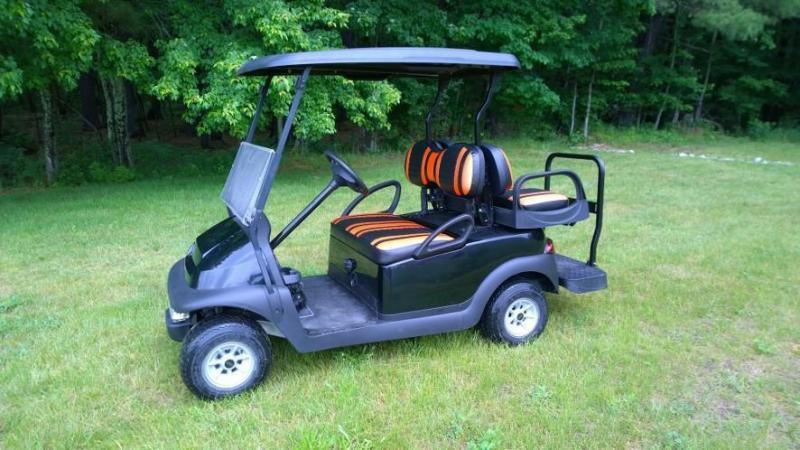 Custom Club Car Precedent Black-Orange Harley colors 4 pass  GOLF CART