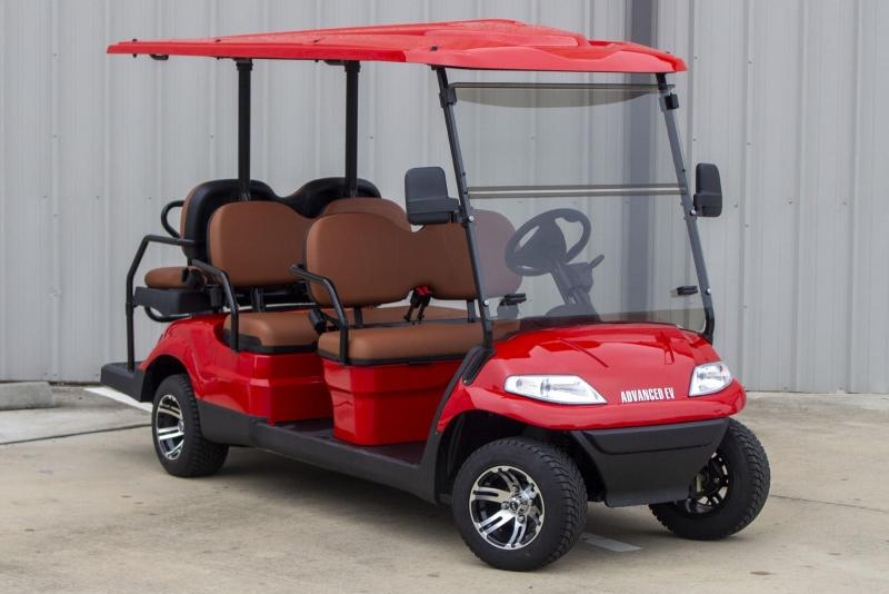 2021 Advanced EV LUXURY 48 Volt 6 PASSENGER golf cart limo-Red/tan seats  (compare to ICON i60)