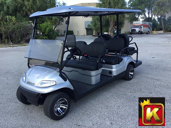 2021 Advanced EV LUXURY 48 Volt 6 PASSENGER golf cart limo-Silver w/saddle seats (compare to ICON i60)