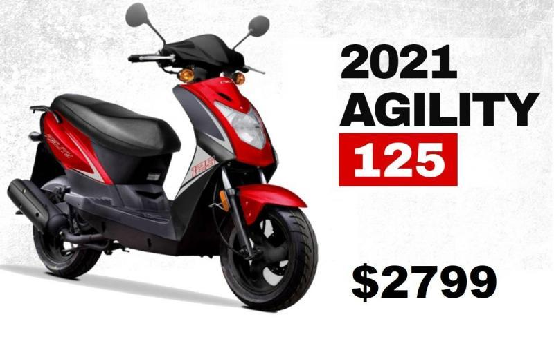 2021 Top Quality KYMCO AGILITY 125 Scooter 50 MPH-79 MPG Black & Red
