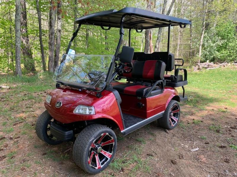 New Evolution Classic 4 STREET LEGAL LSV 25MPH golf car Electric Lithium Powered CANDY APPLE RED
