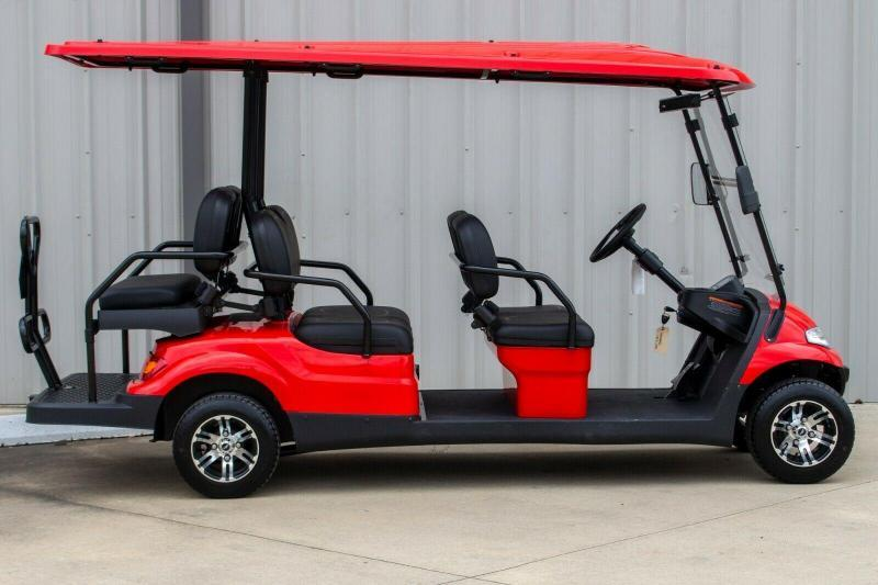2021 Advanced EV LUXURY 48 Volt 6 PASSENGER golf cart limo-Red/black seats (compare to ICON i60)