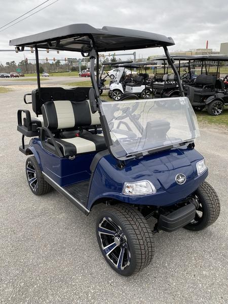"New Evolution Classic 4 ""PLUS"" STREET LEGAL LSV 25MPH golf car NAVY BLUE"