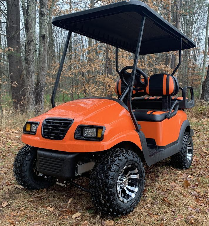 CUSTOM Precedent HARLEY ORANGE/BLK Phantom ELEC 4PASS Golf Car LIFTED