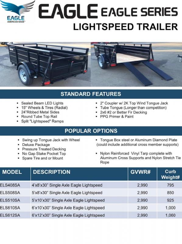 2020 Eagle Trailer 5' x 8' Eagle Lightspeed Utility Trailer