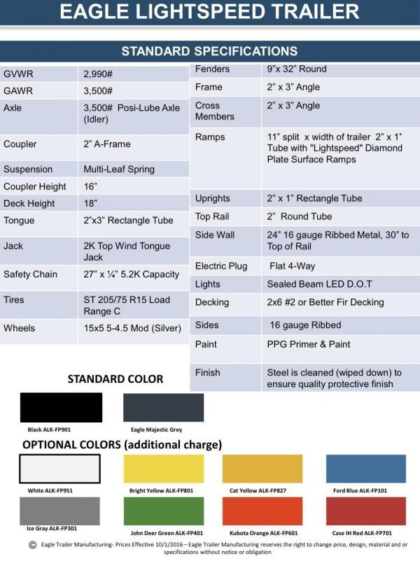 2020 Eagle Trailer 5' x 8' Eagle Lightspeed Utility Trailer