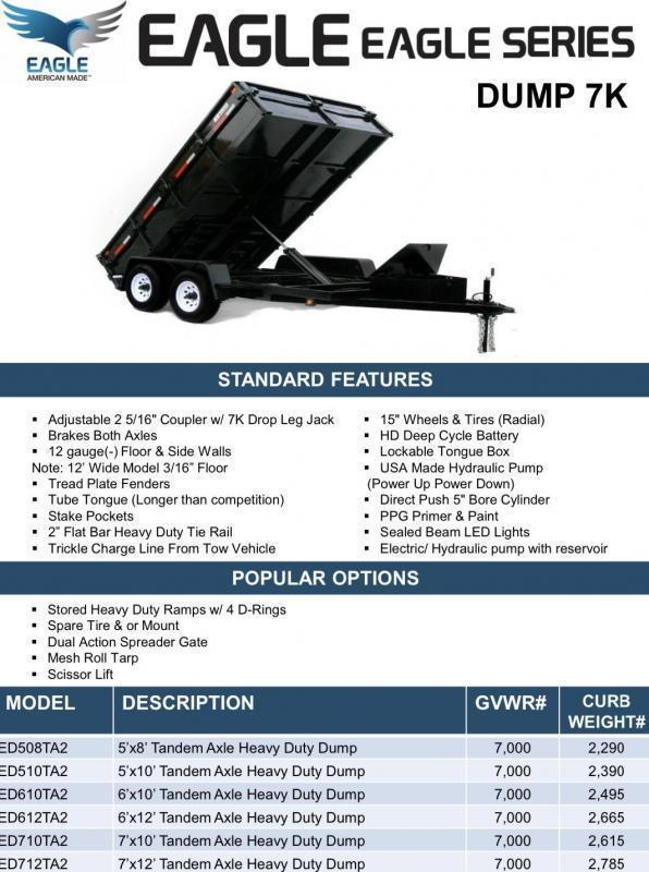 2020 Eagle Trailer 5' X 10'  Tandem Axle Eagle Dump Dump Trailer