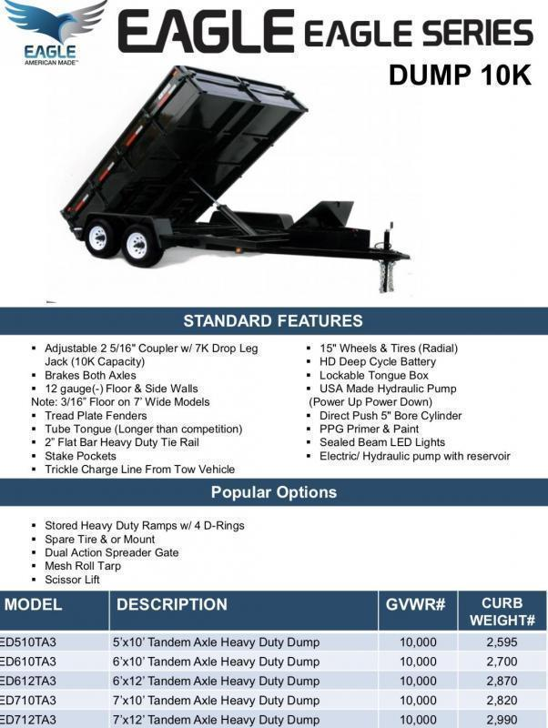 Eagle Trailer 6' x 12' ED612TA3 Eagle Dump Dump Trailer