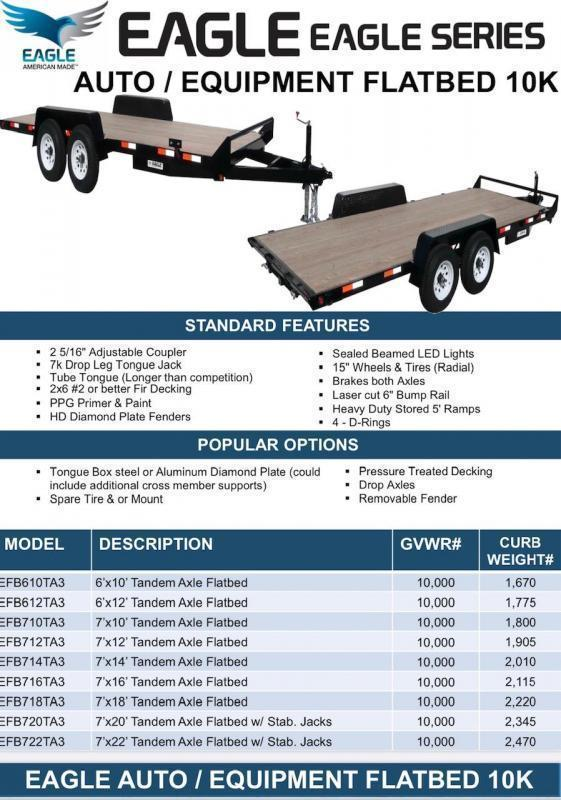 2021 Eagle Trailer EFB718TA3 Eagle Flatbed Flatbed Trailer