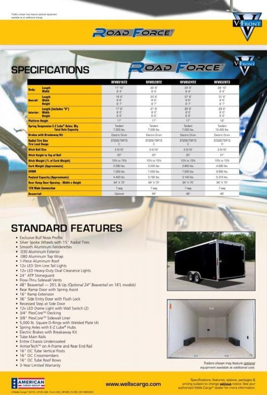 2021 Well Cargo 8.5' X 20' Road Force V Auto Hauler Car / Racing Trailer