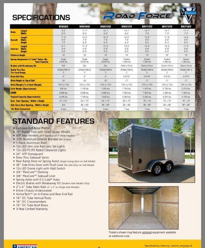 2020 Wells Cargo 6' x 10' V-Nose Road Force Enclosed Cargo Trailer