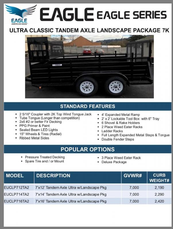 2020 Eagle Trailer 7' x 14' Eagle Landscape Package Utility Trailer