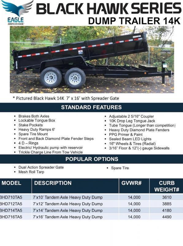 2020 Eagle Trailer 7' x 14' Black Hawk Dump Dump Trailer