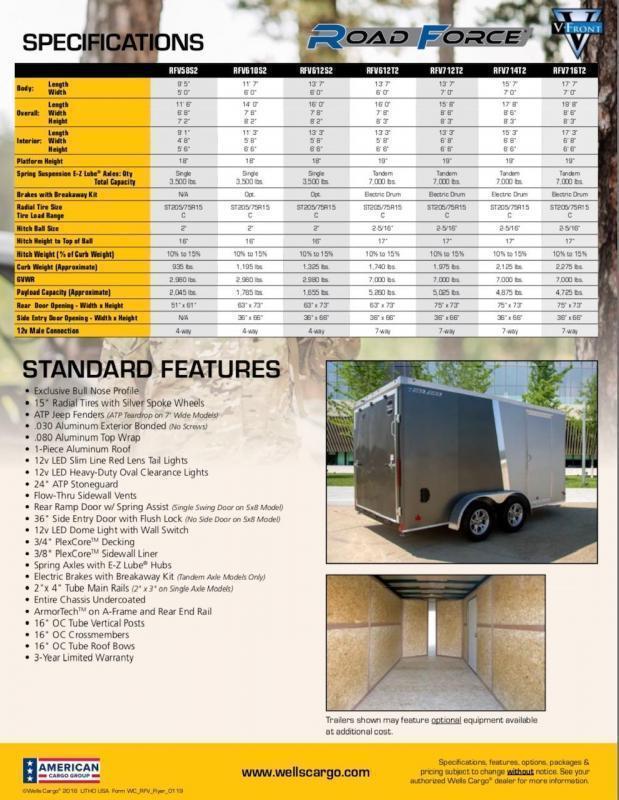 2021 Wells Cargo RFV714T2 Enclosed Cargo Trailer