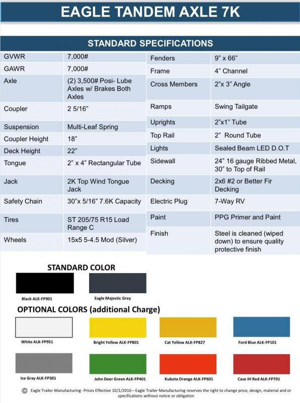 2021 Eagle Trailer 7' X 14' Eagle Ultra Classic 7K Utility Trailer
