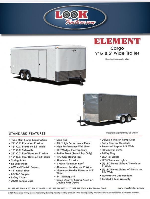 2021 Look Trailers 7' X 12' ELEMENT Enclosed Cargo Trailer