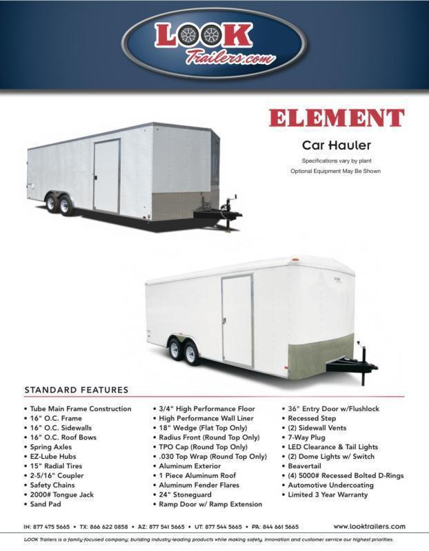 2022 Look Trailers 8.5' X 20' Element Auto Car / Racing Trailer