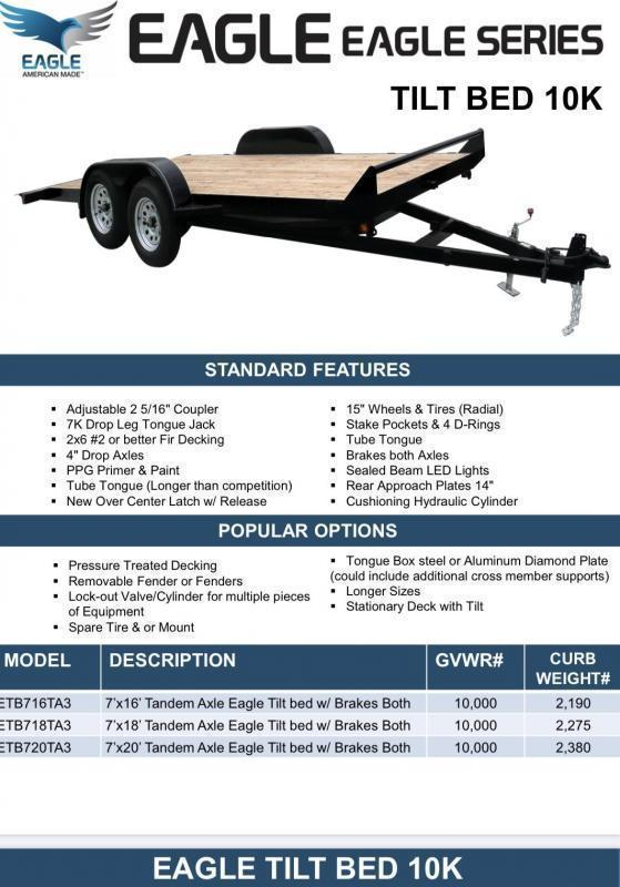 2021 Eagle Trailer 7' X 20' Eagle Tilt Bed Flatbed Trailer