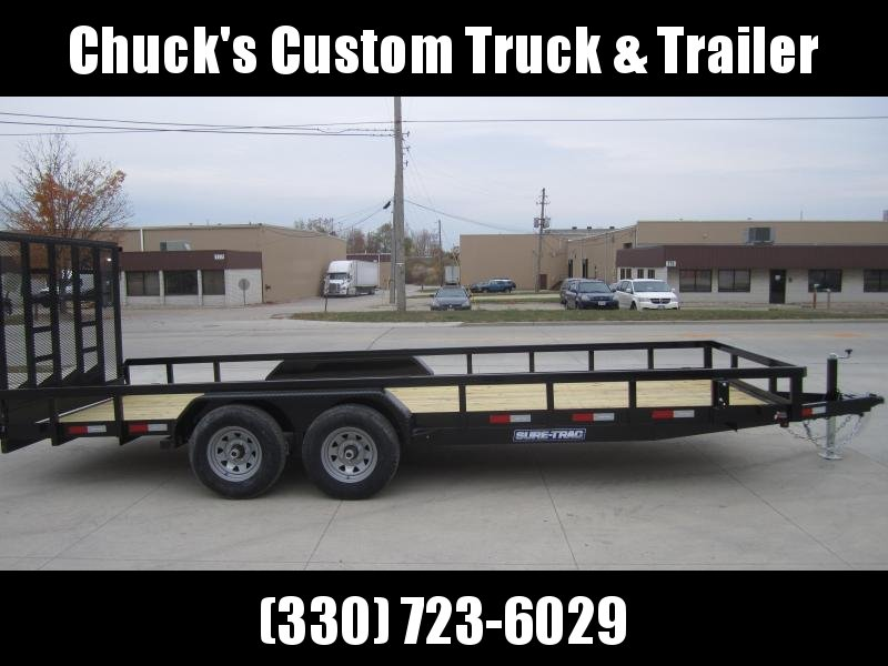 Sure-Trac 7 X 20 Tube Top Utility  10K Tandem W/CONTRACTOR GATE