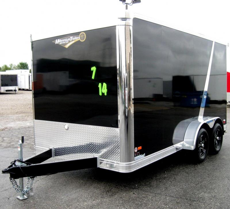 7'x14' Millennium Star Super Premium Motorcycle Trailer with Rear Wing
