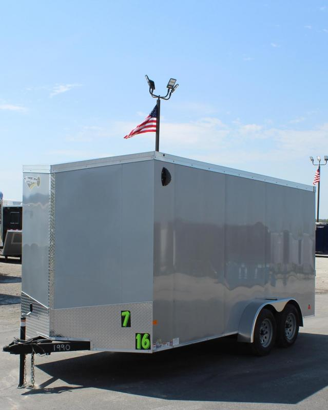 "7'x16' V-Nose Millennium Transport Cargo w/Ramp Door/ Slant Nose Option / 6"" Extra High"