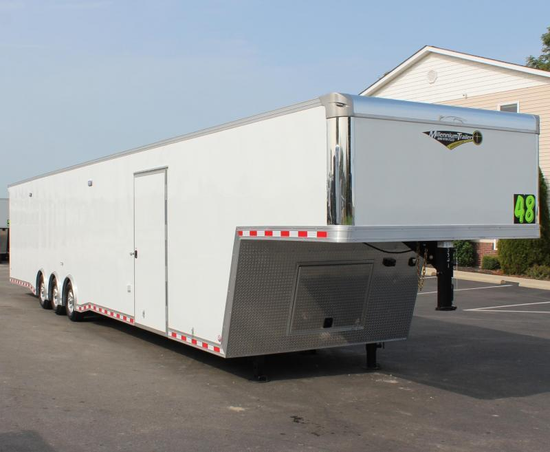 "<b>READY 4/15</b> 92"" Wide Ramp Door 2021 48' Millennium Extreme Gooseneck Race Trailer Loaded Out!"