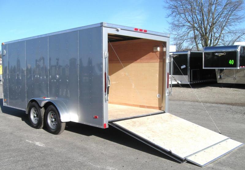 7'x16' Hero Budget Enclosed Cargo Trailer Silver Exterior