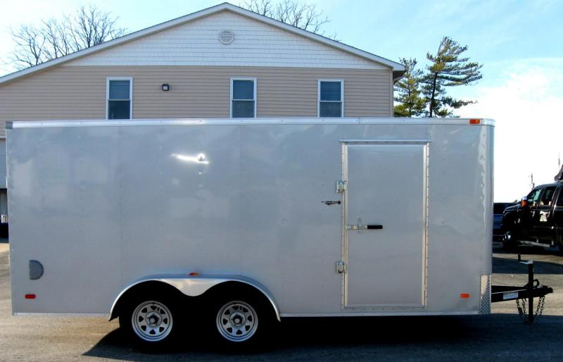 7'x16' Hero Budget Enclosed Cargo Trailer Silver Exterior