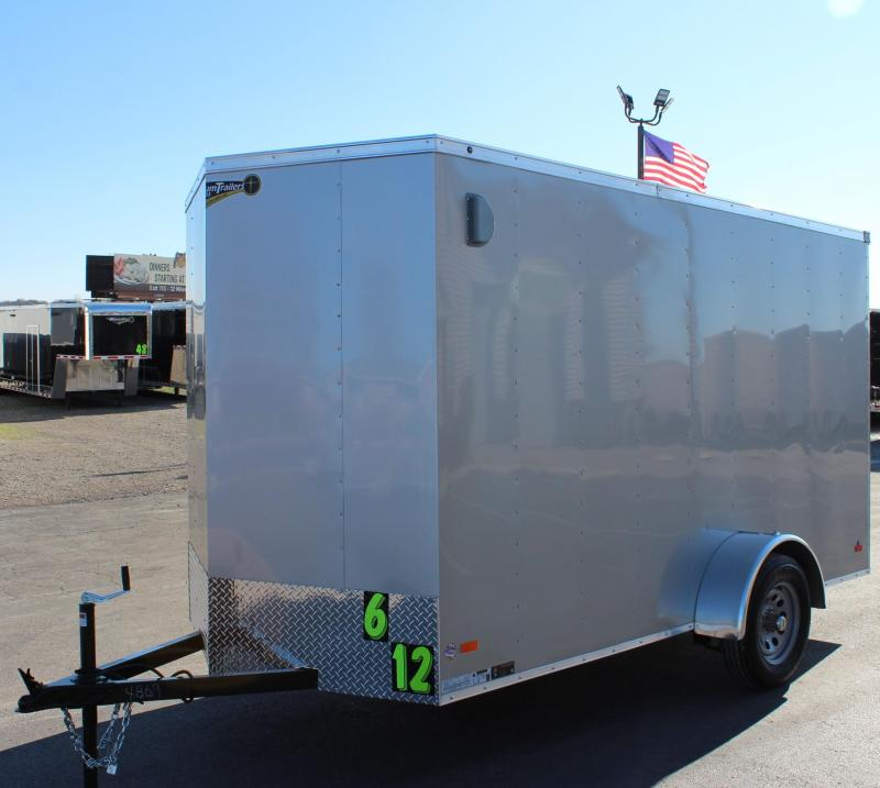 "<b> NOW AVAILABLE</b>  2021 Silver 6'x12' Hero Enclosed Cargo Trailer Ramp Door &  6"" Extra High"