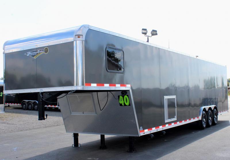 <b>SALE PENDING</b> SUPER NICE MINI LQ 2020 40' Millennium Silver Gooseneck Enclosed Race Car Trailer w/Partial Living Quarters