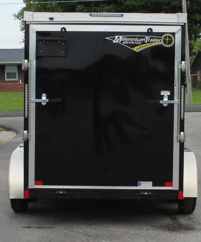 <b>SALE PENDING</b> Black 2021 6'x12' TANDEM AXLES V-Nose Millennium Transport Enclosed Cargo Trailer