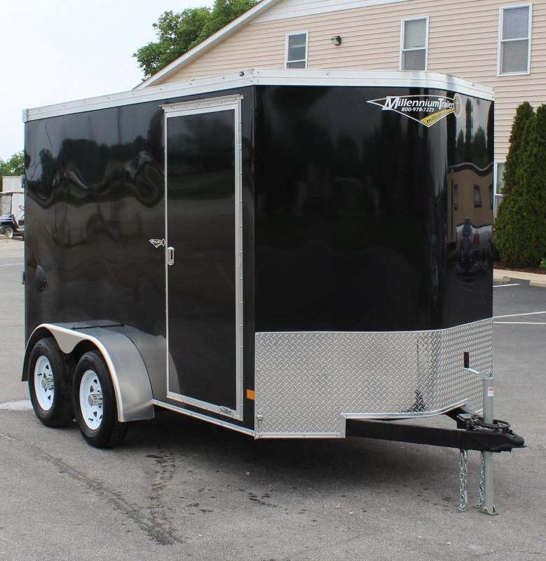 SOLD  Black 6'x12' TANDEM AXLES V-Nose Millennium Transport Enclosed Cargo Trailer