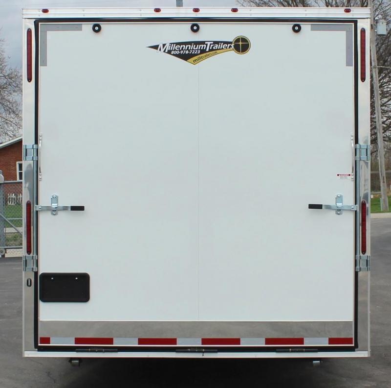 <b>READY 7/1</b> 2022 44' Millennium Race Car Trailer LQ 12' Sofa +8'/Large Bath w/Large Corner Shower Tapered Nose
