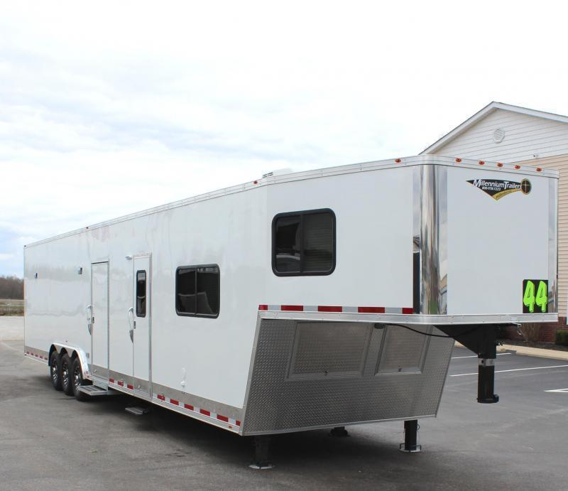 <b>READY 7/1</b> 2022 44' Millennium Race Car Trailer LQ 12' Sofa +8'/Large Bath w/Large Corner Shower Tapered Nose