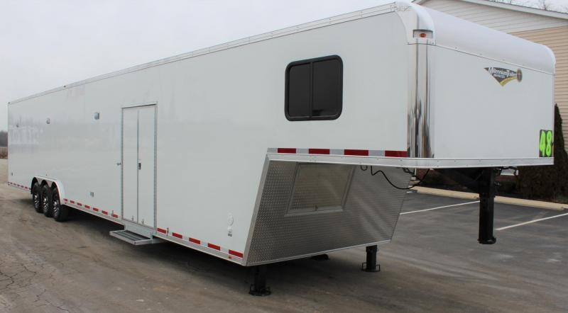 <b>IN PROCESS SPECIAL</b> RACE CAR TRAILER W/FULL BATHROOM 2022 48' Millennium Platinum Gooseneck Black Cabinets Just Add Mattress!