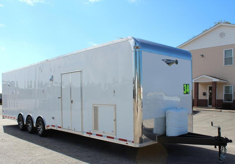 34' Millennium Platinum Enclosed Race Car Trailer w/Full Bathroom