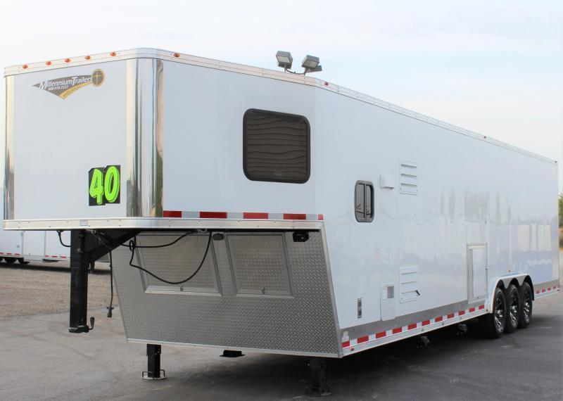 NOW READY!  2021 40' Millennium Silver Enclosed Gooseneck Trailer w/12' Sofa Living Quarters/King Size Bath