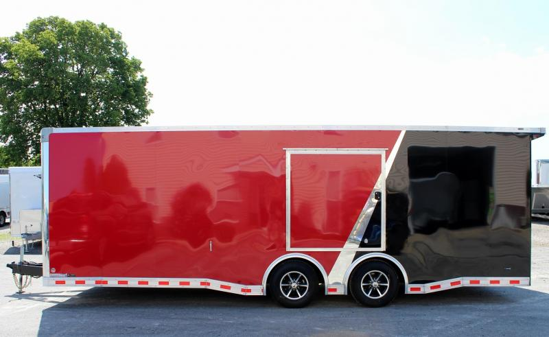 Red/Black 24' Millennium Extreme Race Car Enclosed Trailer w/Rear Wing and FREE Escape Door