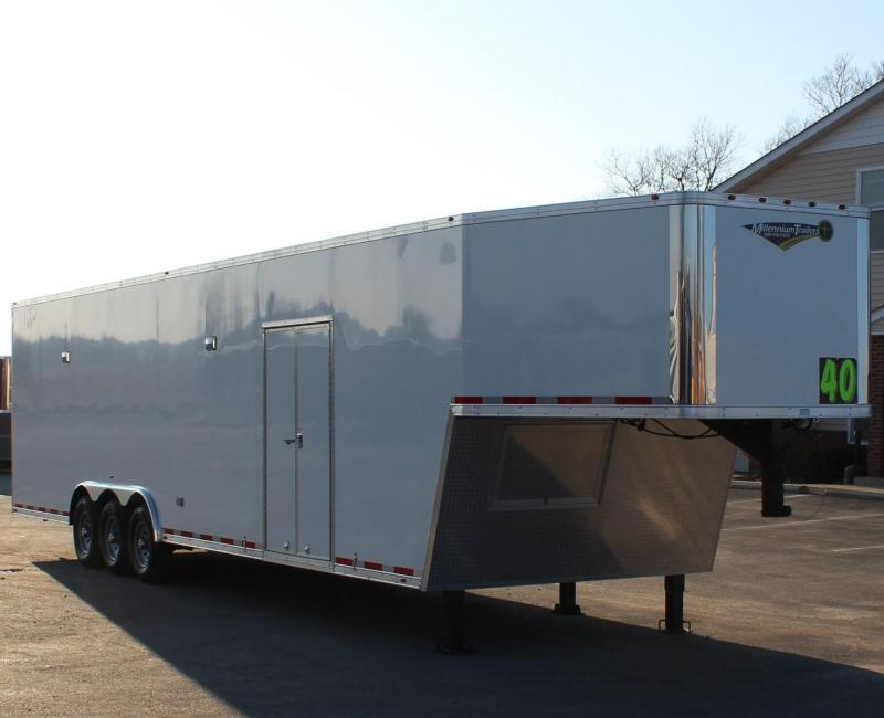 <b>IN PRODUCTION</b>  40' Millennium Silver Gooseneck Race Trailer .040 Screwless Ext./Hydraulic Jack/Cabinets