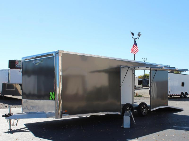 <b>READY SOON</b> NEED EASY EXIT ACCESS?  2021 24' Millennium Extreme Aluminum Lite Car Hauler  w/Removable Fender/Spread Axles/Rear Wing