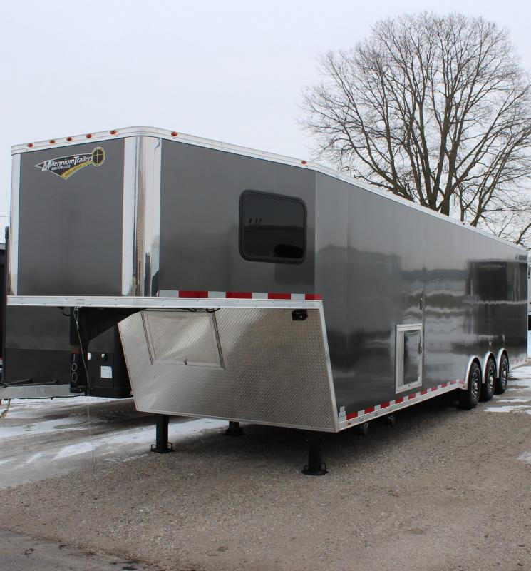 <b>IN PRODUCTION</b> SUPER NICE MINI LQ  2021 40' Millennium Silver Gooseneck Enclosed Race Car Trailer w/Partial Living Quarters
