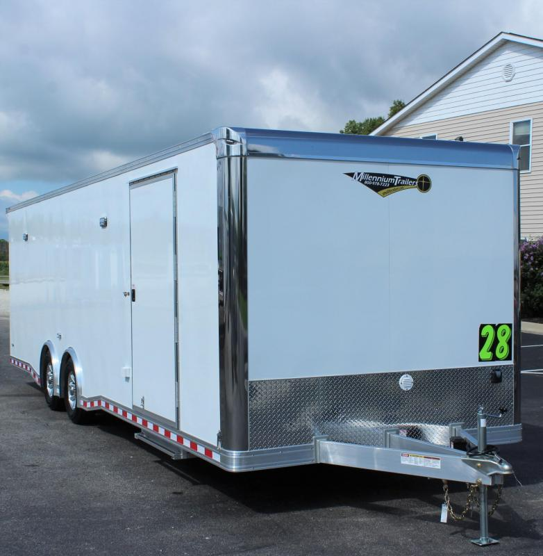 <b>SALE PENDING</b> LOADED ALUMINUM FRAME READY IN JULY 2021 28' Millennium Extreme  Race Trailer w/Blk Cabs & Rear Wing