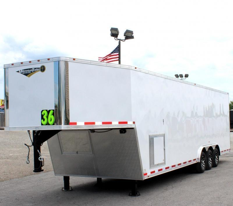 <b>IN PRODUCTION</b> TAPERED NOSE 2022 36' Millennium Silver Gooseneck w/Alum Wheels Hyd Jack Screwless Finished Interior