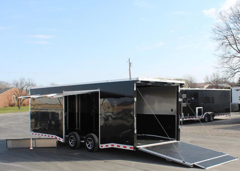 <b>READY 7/23</b> Lrg. Easy-Exit  Door w/Removable Wheel Well w/Lrg Exit Door Trailer 2021 24' Black Millennium Extreme with Removable Fender  & Rear Wing