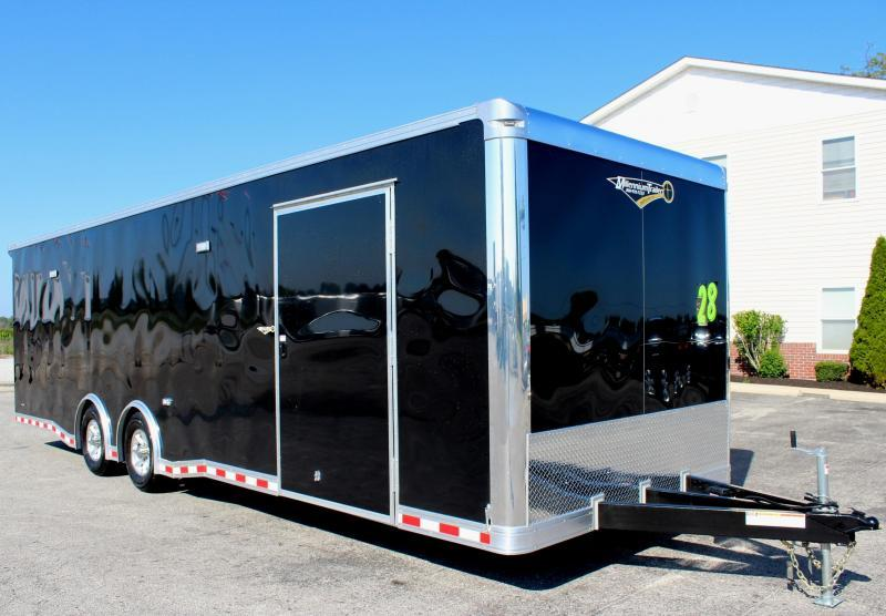 28' Millennium Extreme Race Trailer w/Red Cabinets/Escape Door/ Rear Wing