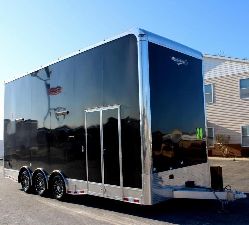 24' Alum Frame Millennium Stacker Enclosed Car Trailer w/14' Titan Lift w/Solid Center/Black Cabs