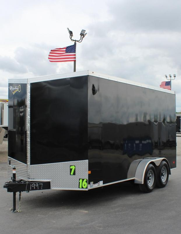 "2/5200# AXLES 2021 7' x 16' V-Nose Millennium Transport Trailer w/Ramp Door 6"" Extra High"