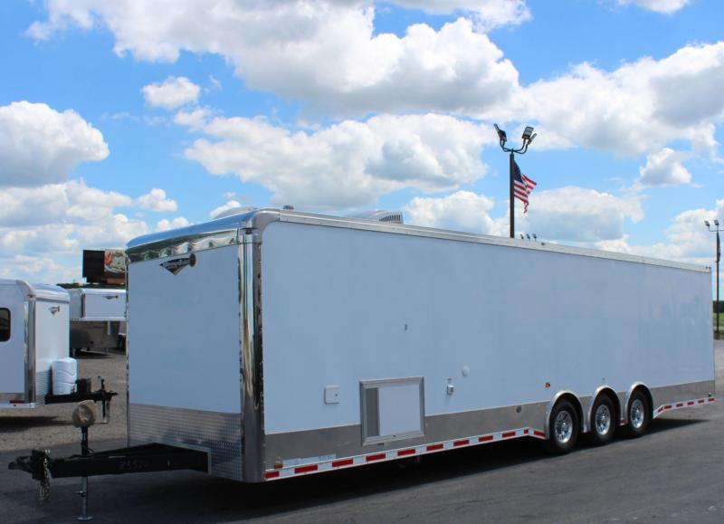 <b>SALE PENDING Pre-Owned</b>  w/Bathroom  2018 34' Auto Master Race Trailer