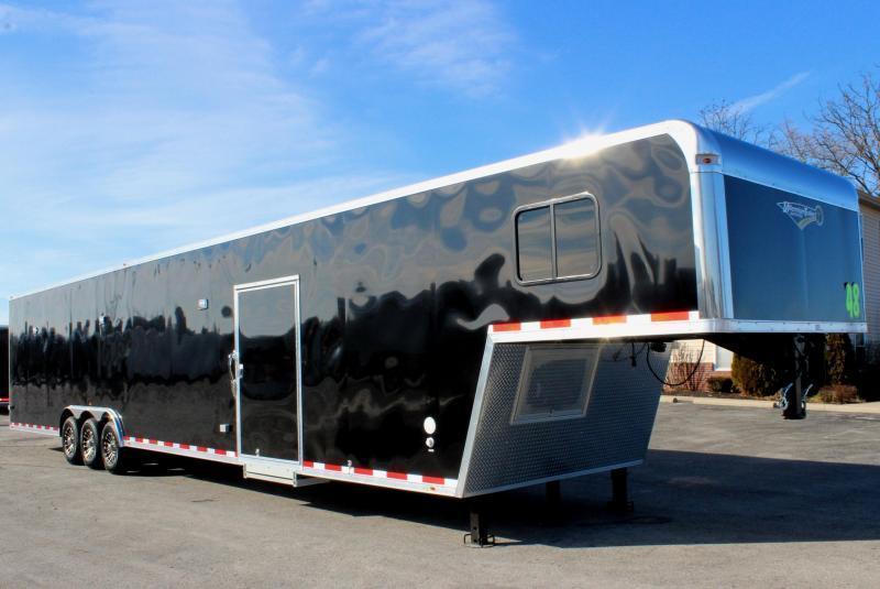 <b>IN PROCESS SPECIAL</b> RACE CAR TRAILER  2022 48' Platinum GN w/Lrg. Full  Bathroom w/Separate Shower Just Add Mattress!