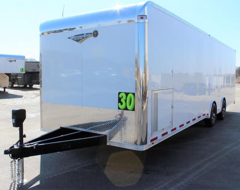 NOW READY  2021 30' Millennium Platinum Enclosed Trailer w/ Electric Awning/A.C & Tool Box